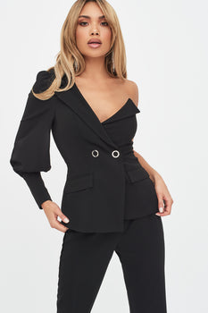 Puff Sleeve Blazer in Black