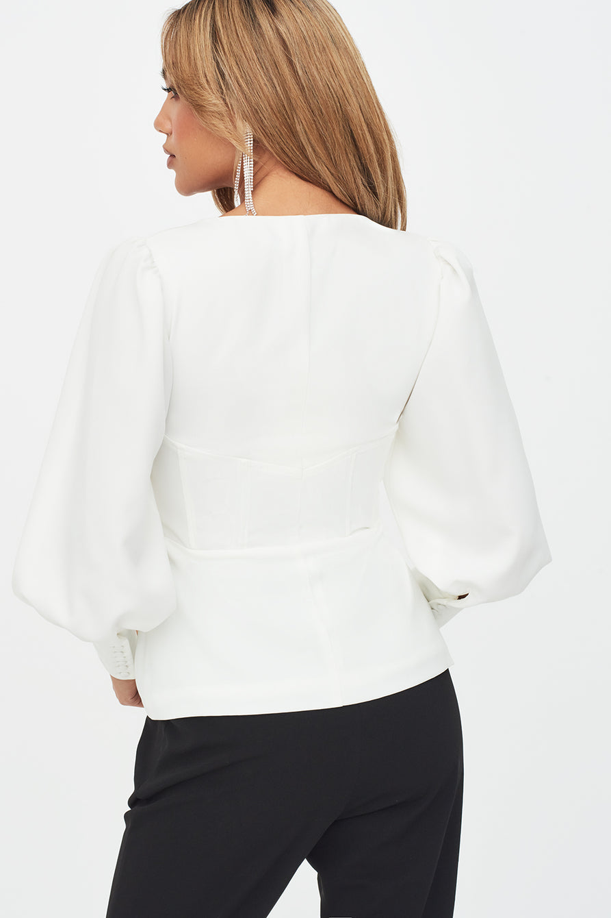 Puff Sleeve Corset Top in White