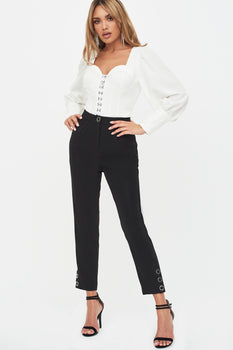 Metal Popper Detail Trouser in Black