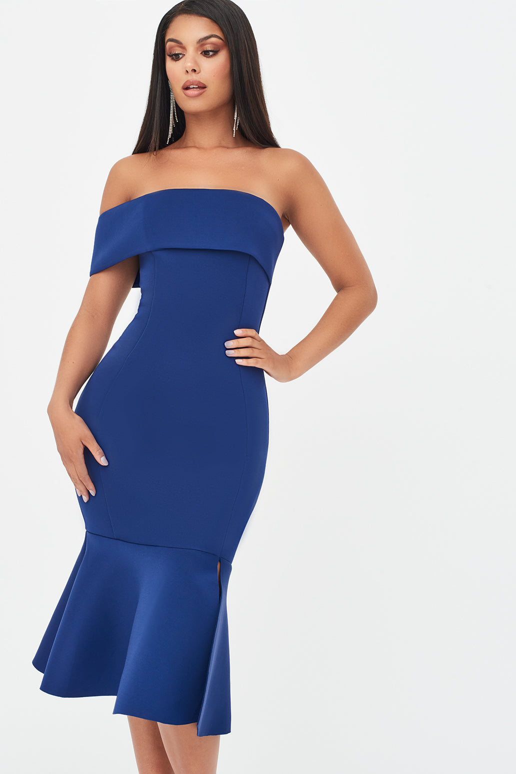 Bardot Scuba Peplum Hem Midi Dress in Navy
