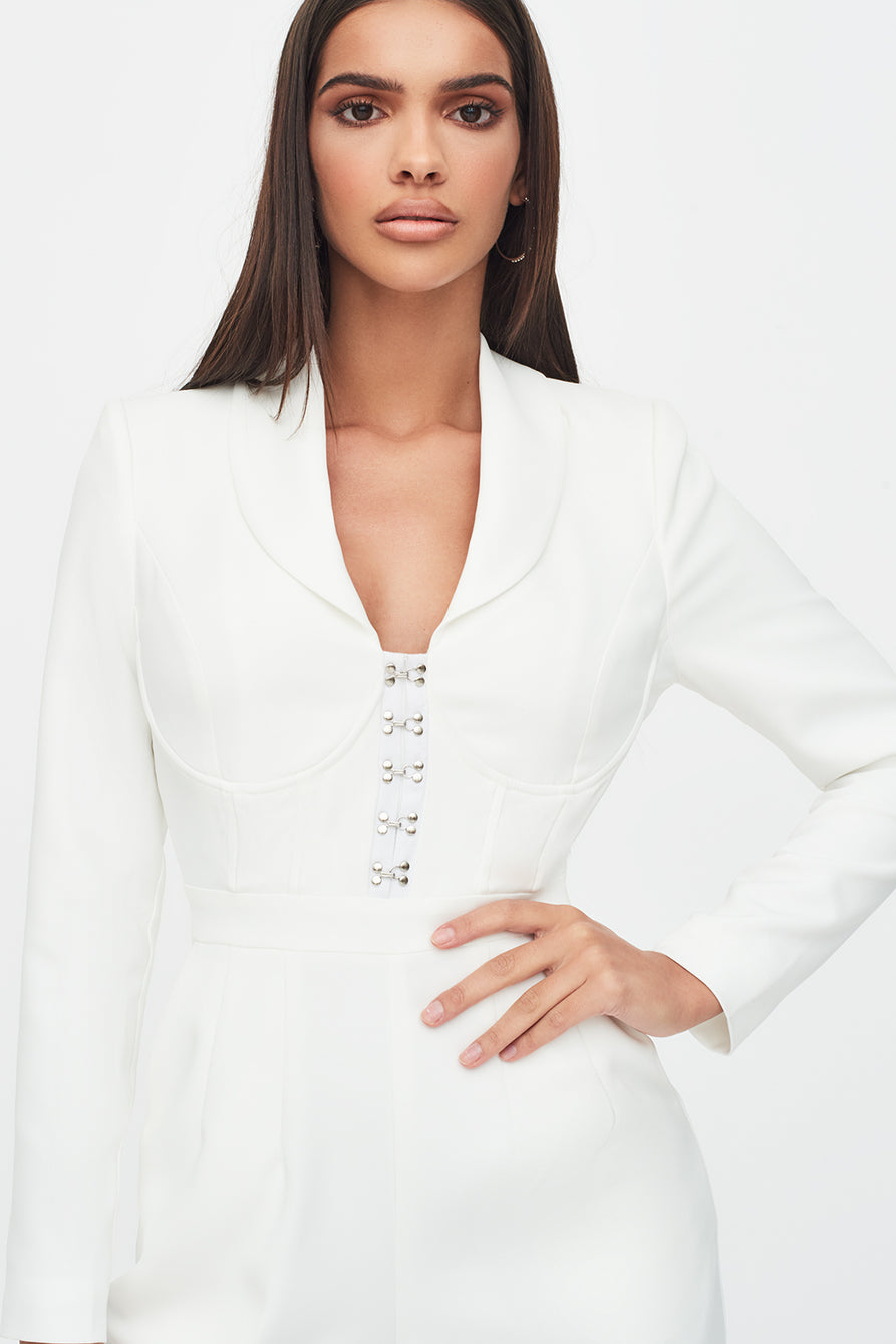 Corset Blazer Jumpsuit in White
