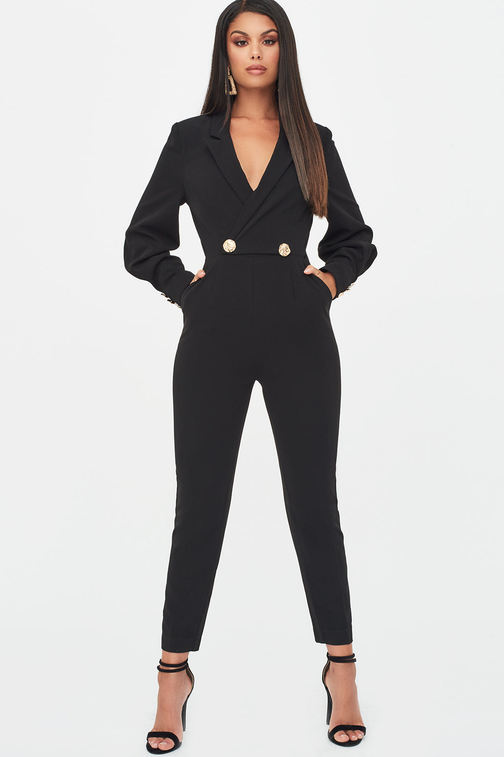Button Detail Tux Jumpsuit in Black