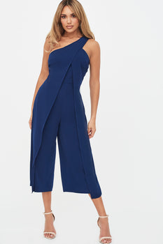 One Shoulder Wrap Leg Culotte Jumpsuit in Navy