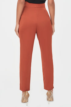 High Waisted Satin Trousers in Tobacco
