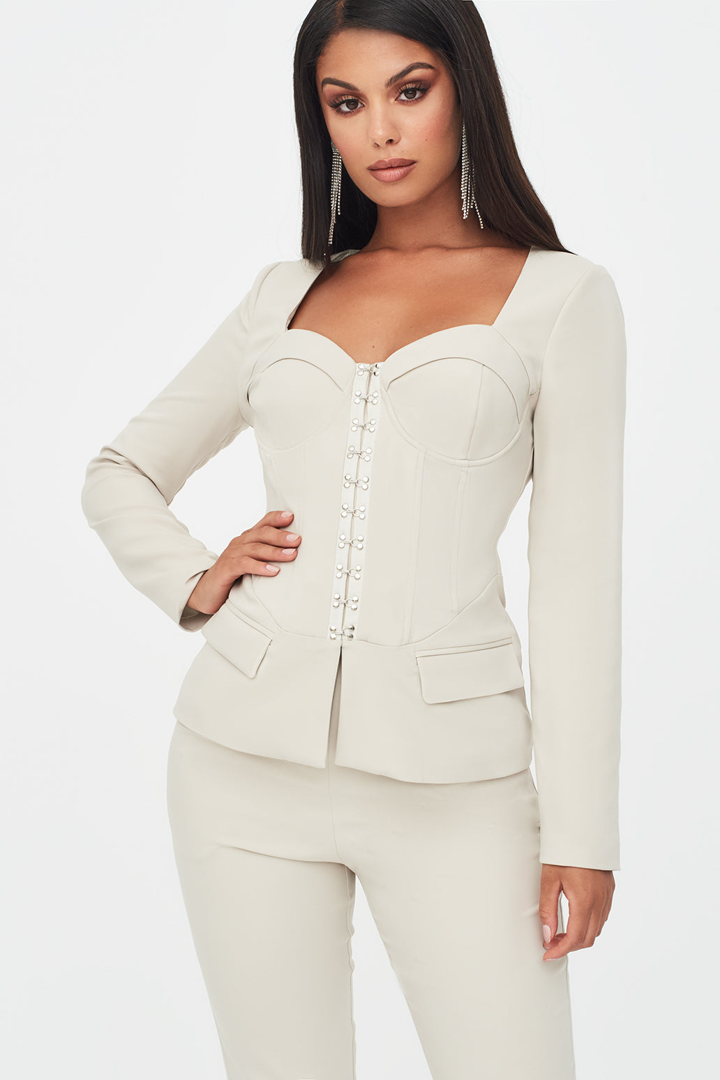 Square Neck Corset Blazer in Clay