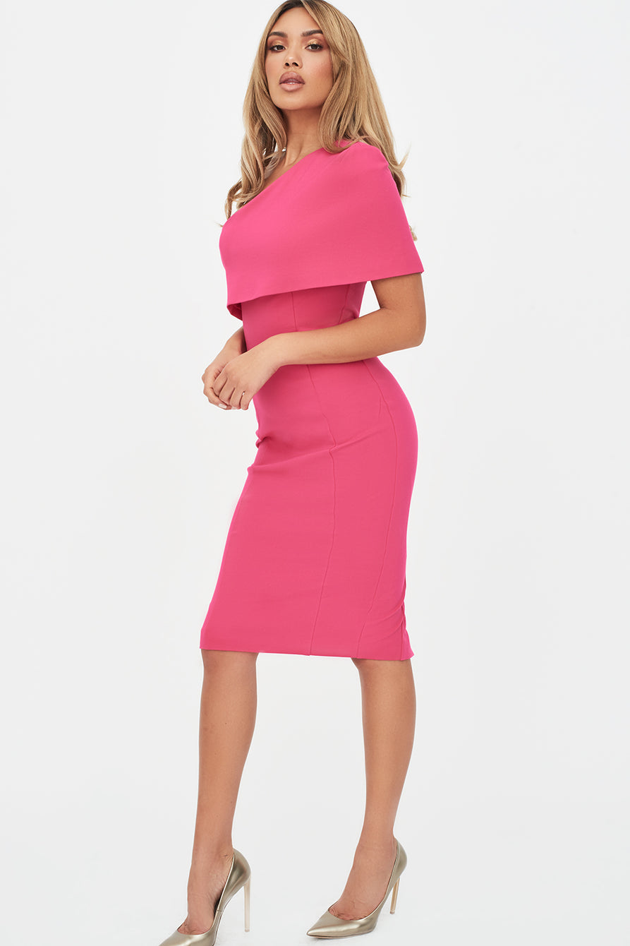 One Shoulder Cape Midi Dress in Pink