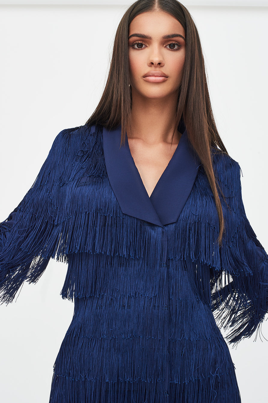 Tassel Blazer Dress in Navy