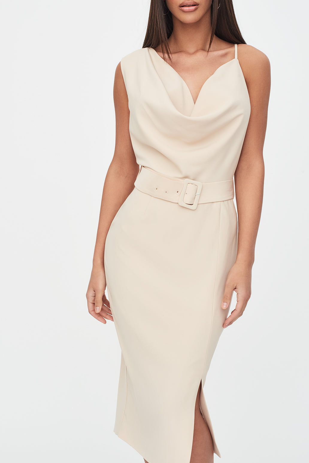 Cowl Neck Belted Midi Dress in Clay