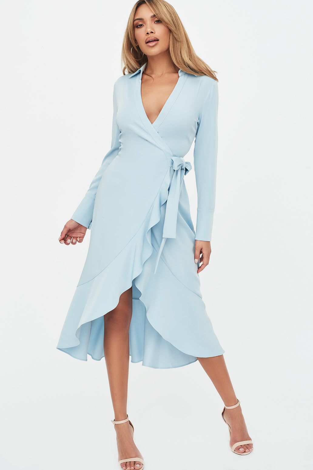 Lavish Alice Frill Hem Wrap Front Shirt Dress in Dusty Blue