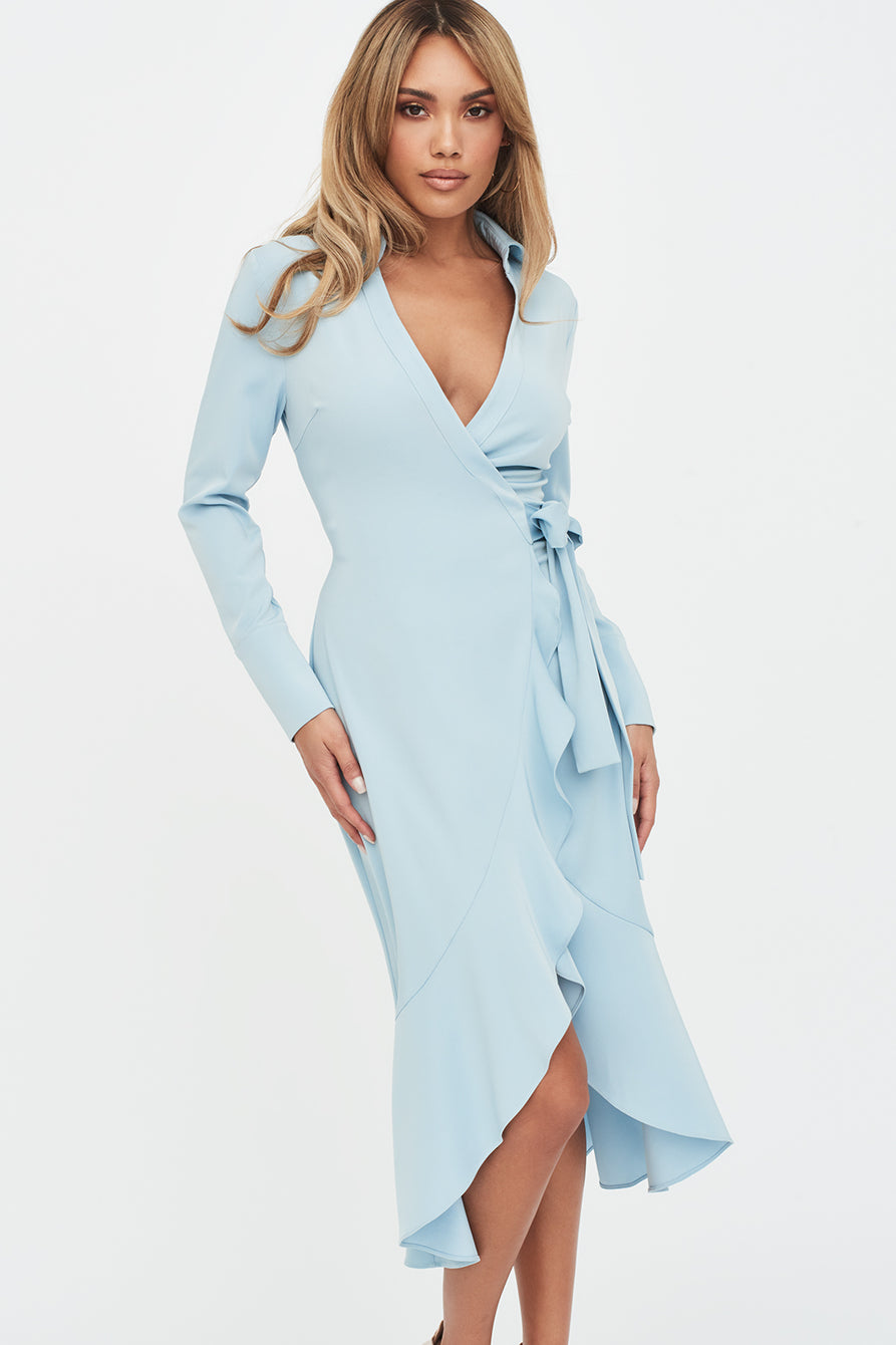 Frill Hem Wrap Front Shirt Dress in Dusty Blue