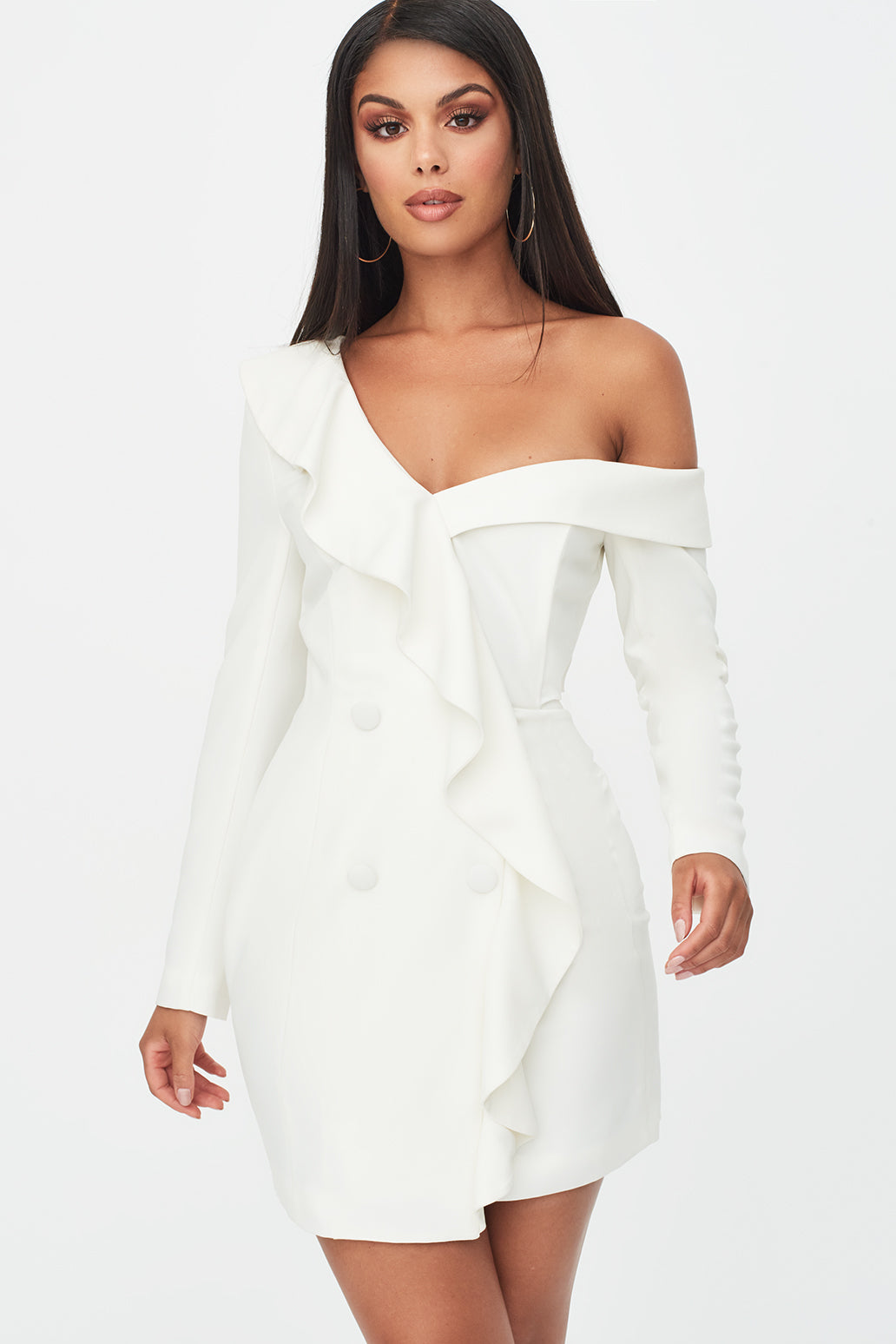 Ruffle Off Shoulder Dress in White