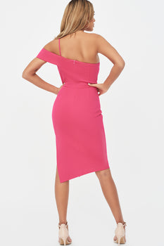 Strappy Off Shoulder Midi Dress in Pink