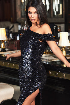 One Shoulder Diamond Velvet Sequin in Black