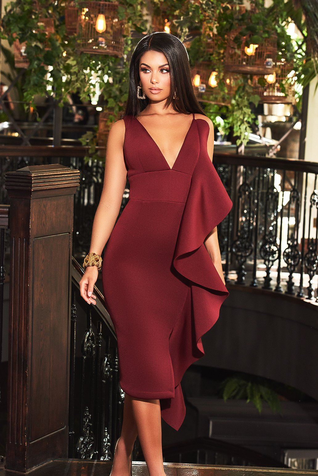 Scuba Draped Frill Midi Dress in Burgundy