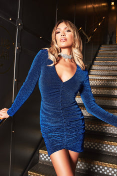 Button Detail Glitter Lurex Mini Dress in Cobalt Blue