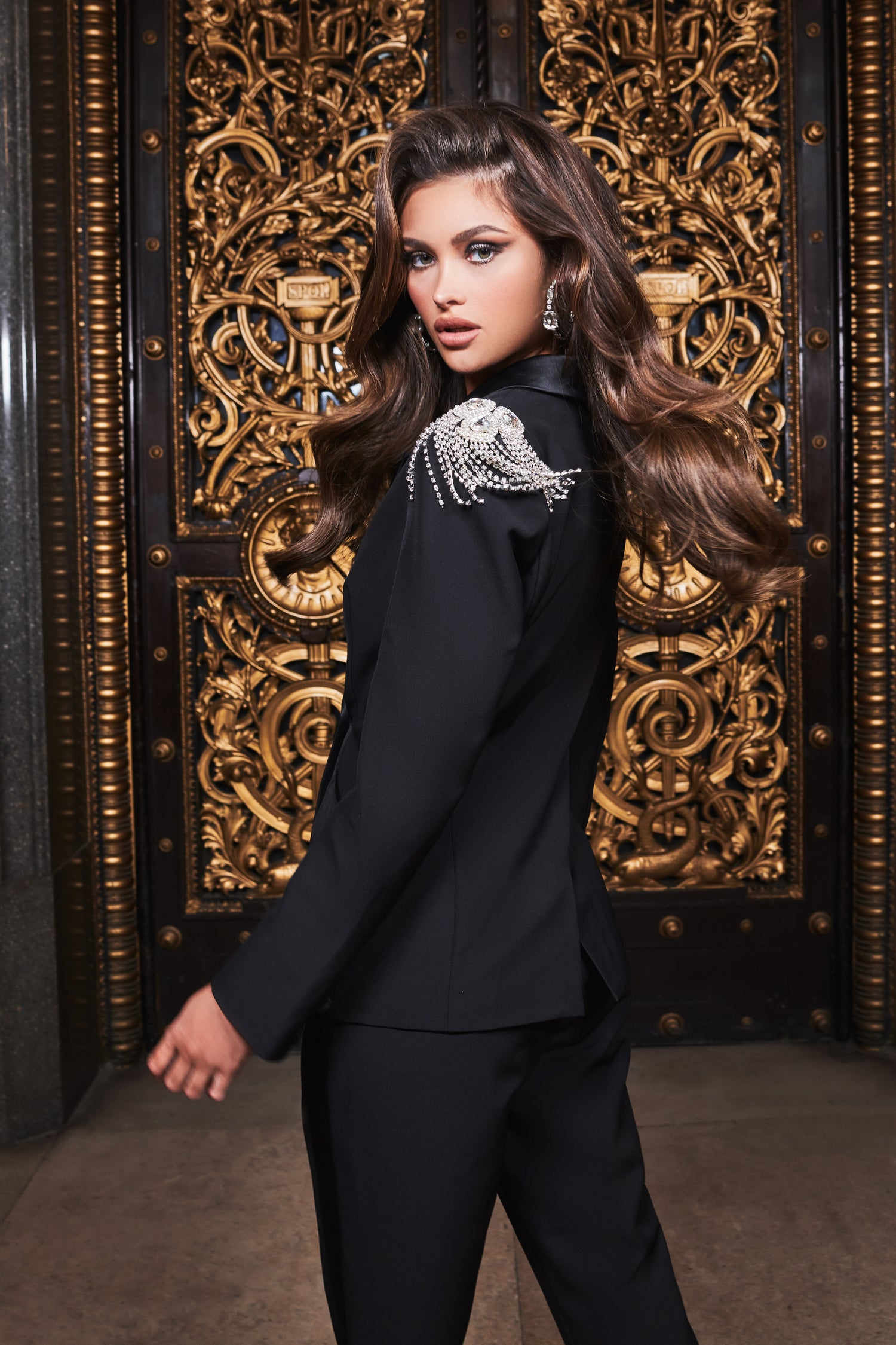 Ruby Holley Tux Jacket With Diamante Shoulder Trim in Black