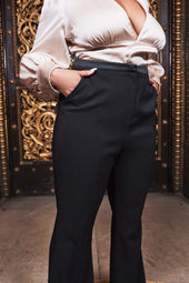 Curve Satin Mix Tailored Flared Trousers in Black