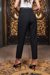 Ruby Holley Contrast Satin Trouser in Black