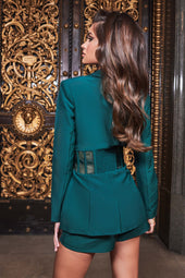 Sheer Corset Blazer in Forest Green
