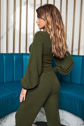 Patricia Bright Corset Shaped Balloon Sleeve Jumper in Khaki