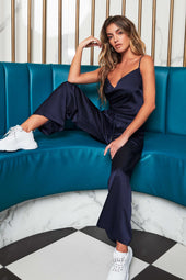 Patricia Bright Satin Wide Leg Trousers in Navy