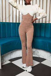 Patricia Bright Corset Fit And Flare Ribbed Knit Trouser in Mink