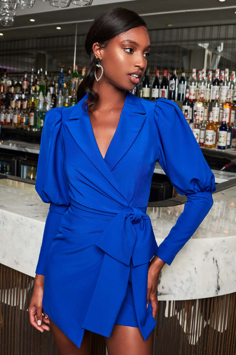 Bow Detail Puff Sleeve Dress In Cobalt Blue