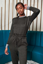 Patricia Bright Padded Shoulder Jogger Jumpsuit in Grey