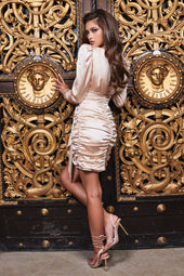 Ruby Holley Satin Wrap Mini Dress in Champagne
