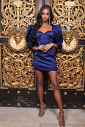 Puff Sleeve Bonded Satin Mini Dress in Navy