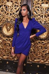 Pleated Waist Wrap Mini Dress in Navy