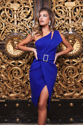 One Shoulder Cutout Midi Wrap Dress in Cobalt