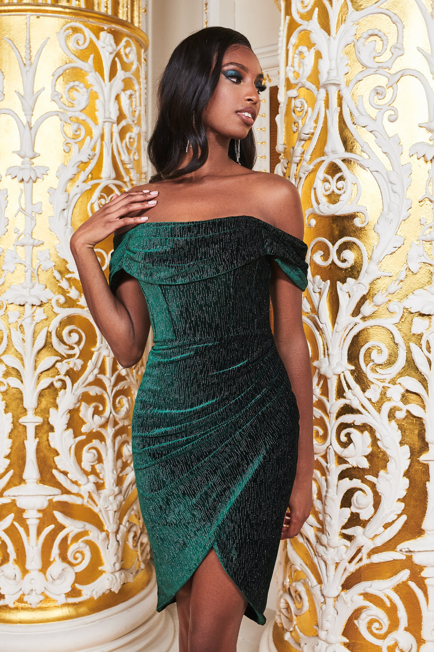Ruby Holley Pleated Bardot Diamante Velvet Midi Dress in Forest Green