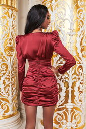 Ruby Holley Satin Wrap Mini Dress in Burgundy