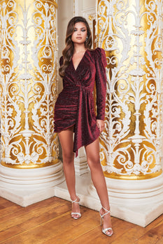 Ruby Holley Diamante Velvet Wrap Mini Dress in Burgundy