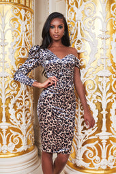 Velvet Statement Shoulder Midi Dress in Leopard Print