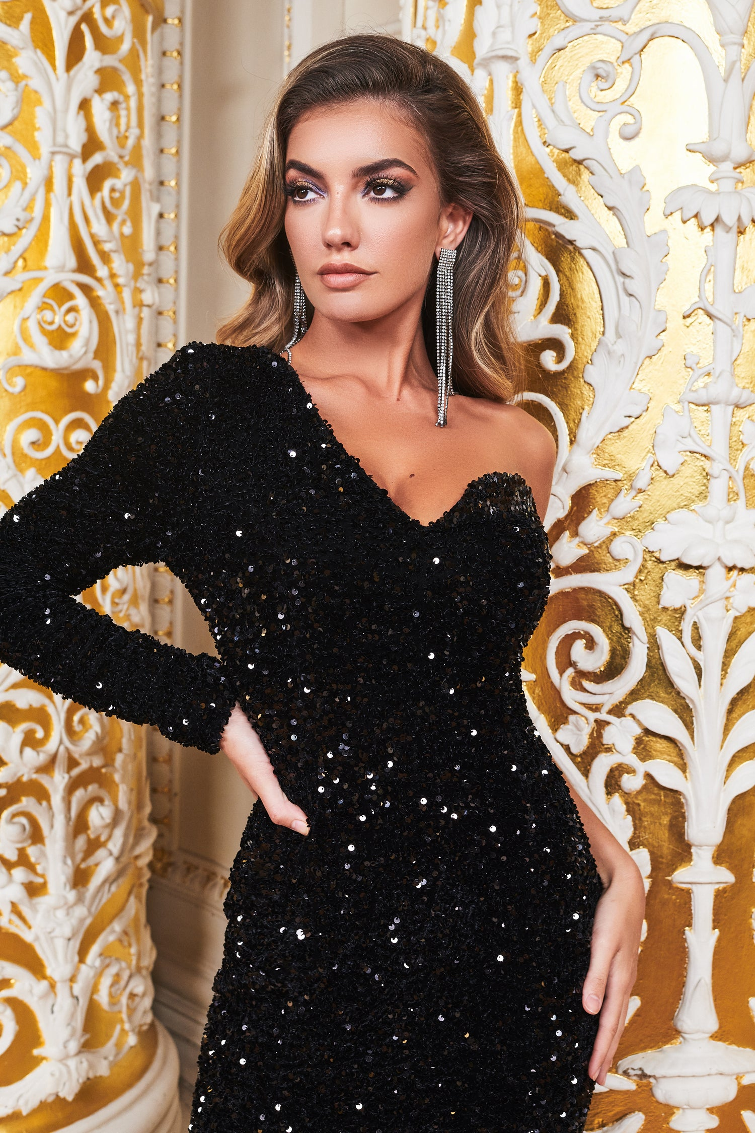 Ruby Holley One Sleeve Cluster Velvet Sequin Midi Dress in Black