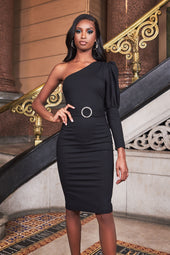 Puff Sleeve Midi Dress With Diamante Belt in Black