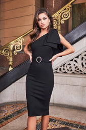 Statement Bow Shoulder Ponte Midi Dress in Black