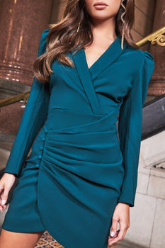 Ruby Holley Wrap Gathered Mini Dress in Forest Green