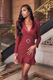 Frill Hem Satin Mix Blazer Dress in Burgundy