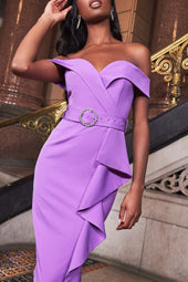 Bardot Ruffle Midi Dress With Diamante Buckle in Purple