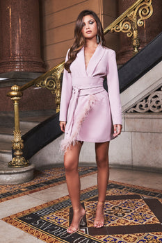 Ruby Holley Feather Hem Blazer Dress in Mink