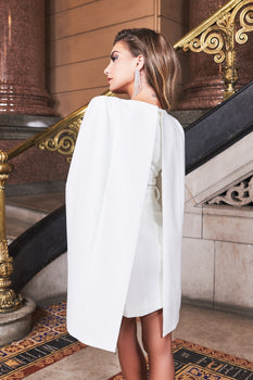 Underwired Cape Mini Dress in White