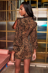 High Neck Micro Ruffle Mini Dress in Leopard Velvet Devore