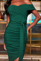 Bardot Ruched Side Midi Dress in Forest Green