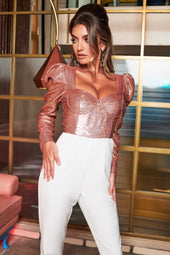 Puff Sleeve Sequin Corset Jumpsuit in Rose Gold