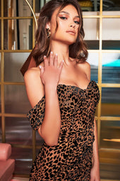 Off Shoulder Corset Wrap Dress in Leopard Velvet Devore