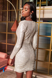 Cowl Neck Sequin Mini Dress in Silver