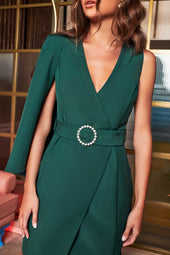 Half Cape Mini Dress With Diamante Belt in Forest Green